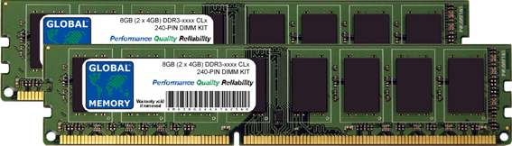 8GB (2 x 4GB) DDR3 1066/1333/1600/1866MHz 240-PIN DIMM MEMORY RAM KIT FOR DELL DESKTOPS